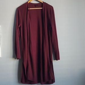 Talbots open long length burgandy cardigan -sz XL